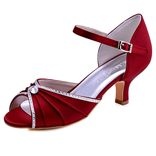 ElegantPark HP1623 Women's Sandals Peep Toe Mid Heel Pumps Pleated Rhinestones Satin Evening Wedding Party Shoes Burgundy US - Party Shoes Satin