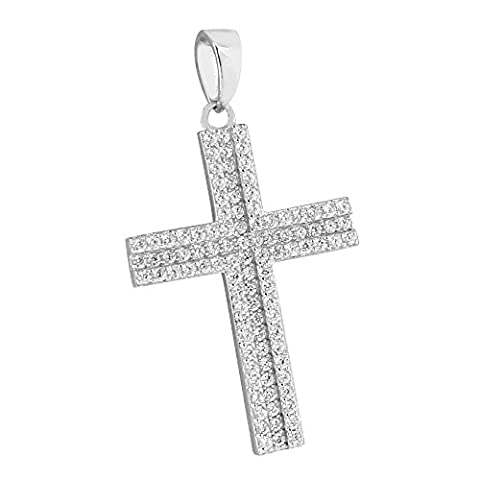 Sterling Silver Cross Pendant Lab Diamonds Full Iced Out Charm 1.5 Inch Jesus - Cubic Zirconia Cross Charm