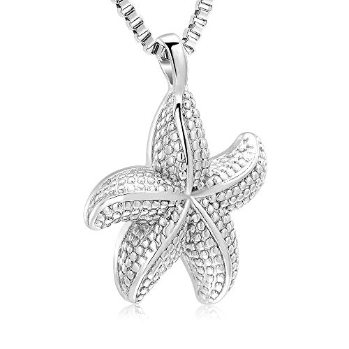Ocean Collection Starfish Cremation Urn Necklace Pendant Memorial Jewelry for Humen Ashes (Silver-1)