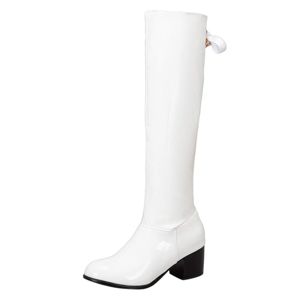 LATINDAY 2019 Spring Winter New Women's Bow Side Zip Round Knee Bare Boots Square Heel Casual Long Tube Booties White by LATINDAY ➜ Shoes Accessory