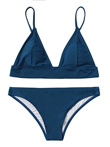 SweatyRocks Women's Sexy Bathing Suits Solid Thong Adjustable Strap Triangle Bikini Set...
