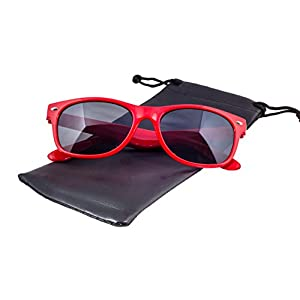 Epic Brand New Wayfarer Sunglasses Collection for Men and Women   Classic 80's Retro Vintage Fashion Timeless Style (Red, Black)