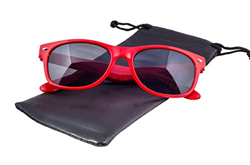 Epic Brand New Wayfarer Sunglasses Collection for Men and Women | Classic 80's Retro Vintage Fashion Timeless Style (Red, - Sunglasses Brand New