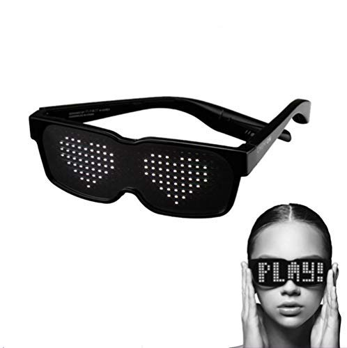 SUNSEATON LED Glasses, LED Glow Party glasses with 8 Modes Quick Flash, Rechargeable and Work for 10 Hours, for Nightclubs, DJ, Concert, Halloween, Birthday Parties ect (Black)]()