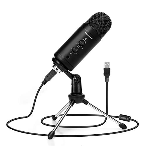 USB Condenser Microphone for Computer,Zero Latency Monitoring Professional PC Mic Studio Cardioid Condenser Kit with Adjustable Metal Tripod Stand,Great for Gaming,Podcast,Live Streaming,YouTube
