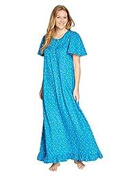Dreams & Co. Women\'s Plus Size Long Cotton Knit Gown Iris Blue,L