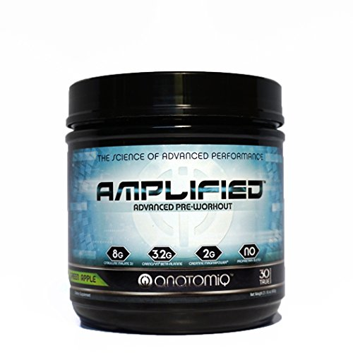 AMPLIFIED ✮ Science-Backed Pre Workout for Men & Women ✮ Best-Tasting Pre-Workout ✮ Clinically-Dosed for Nitric Oxide Pumps, Nootropic Focus, Strength, Energy & Endurance ✮ Green (Pump Pre Workout Creatine)