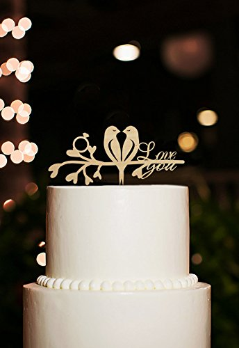 Amazon.com: Rustic Cake Topper For Wedding Love Birds Cake Topper ...