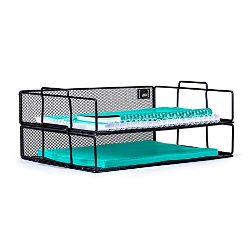 (Mindspace 2 Tier Stackable Letter Tray Desk Organizer | Stackable Paper Tray Organizer | The Mesh Collection, Black)