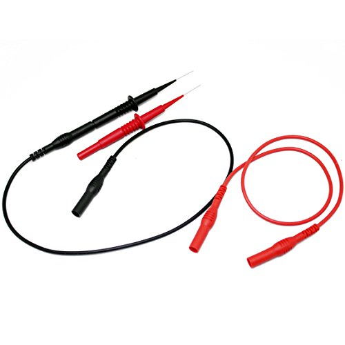 Aidetek Sharp Stainless Steel Needle Tipped Tip Multimeter Probes Test Leads 4 Fluke Tester 600v 1a 4mm Socket + Banana Plug Test Leads Red Black ()