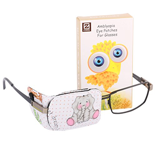 Plinrise Cartoon Pure Cotton Reusable Eye Patches - Amblyopia Eye Patches For Glasses, Strabismus, Lazy Eye Patch For Children,Vision Care Eye Mask (Elephant right)