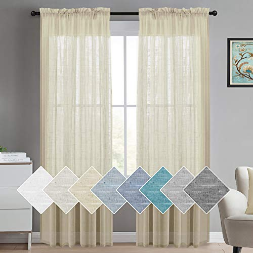 Sheer Curtains Linen Textured Curtains for Living Room 52 x 84 Inch Natural Rod Pocket Window Panel, Linen Look Burlap Curtain Home Fashion Natural Linen Rich Quality Curtain, 2 Panels, Beige (Panels And Curtain Lace Burlap)