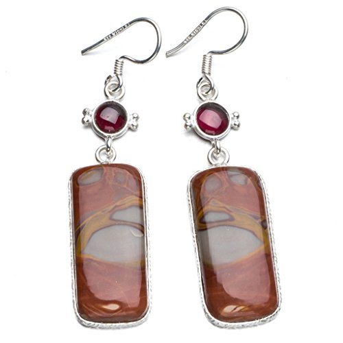 StarGems(tm) Natural Picasso Jasper and Amethyst Boho Style 925 Sterling Silver Drop Earrings 2