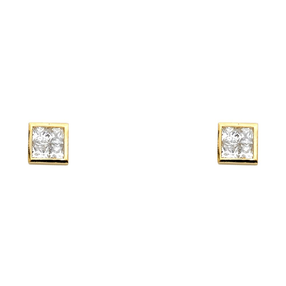 Wellingsale 14K Yellow Gold Polished Princess Invisible Stud Earrings With Screw Back