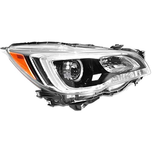 - New Right Passenger Side Halogen Headlight Assembly For 2015-2017 Subaru Legacy, Subaru Outback, With Black Bezel, With Chrome Trim, 3.6 Liter Engine SU2503149C Capa