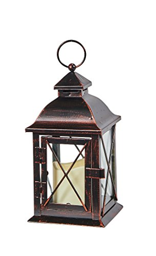 Smart Design STI84035LC Aversa Metal Lantern with LED Candle with Set Timer at Desired Time to Operate Automatically, Includes Realistic Candle Powered by One Amber ()