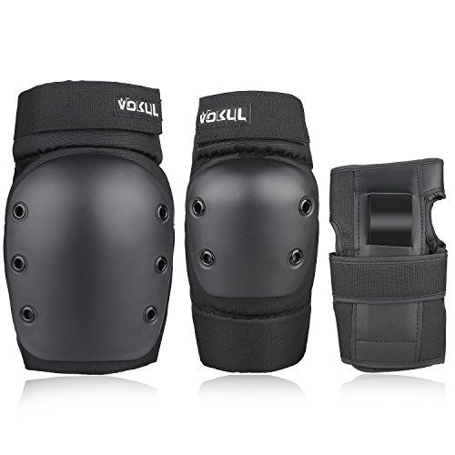 VOKUL 3 In 1 Protective Gear Set, Kids Youths Adults Safety Gear Protector Guards Knee Pads Elbow Pads Wrist Guards for Skating Skateboarding Cycling Inline Skate and Other Sports Activities(Black, L)