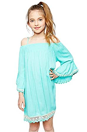 Mrignt Big Girls Sling Casual Lace Dresses the Off Shoulder Bell Sleeves Summer Party Dress(Mint,7-8/Age)