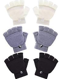 3 Pairs Kids Fingerless Mittens Convertible Flip Top...