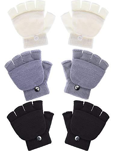 Boao 3 Pairs Kids Fingerless Mittens Convertible Flip Top Gloves Children Soft knitted Gloves for Boys Girls (Color Set 1)