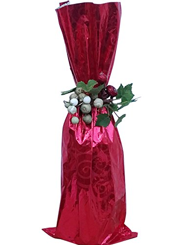 (100 / Metallic RED Mylar Bag - Wine Bottle Gift Bags, 6 1/2