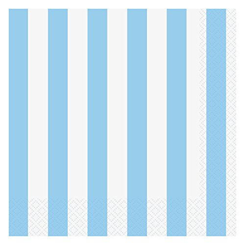 Light Blue Striped Paper Napkins, 16ct (Napkins Luncheon Pastel Blue)
