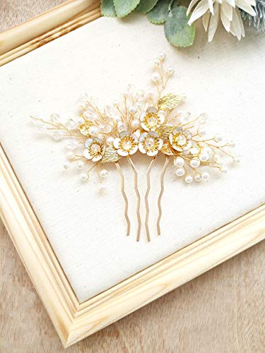 Leaf Comb - Aegenacess Wedding Hair Decorative Leaf Comb Side - Leaf Floral Flower Bridal Vine Boho Clip Crystal Prom Bridesmaids Gift Accessories for Bride Women (Gold)