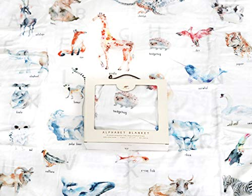 Soft Muslin Baby Blanket with 26 Watercolor Alphabet Animals - 47 x 47 Inches Muslin Quilt for Infant and Toddler Boys and Girls
