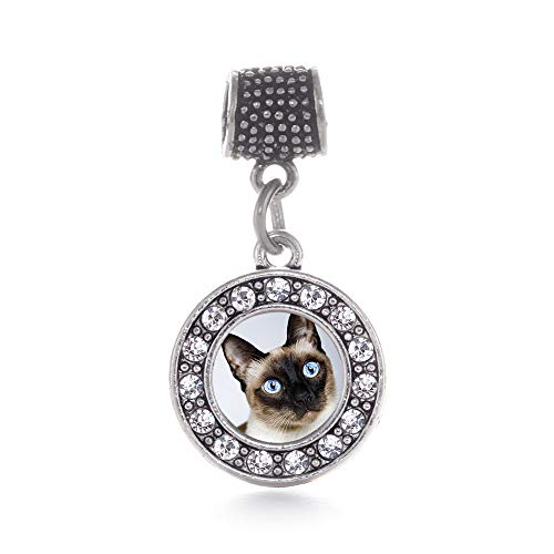 (Inspired Silver - Siamese Cat Memory Charm for Women - Silver Circle Charm for Bracelet with Cubic Zirconia Jewelry)