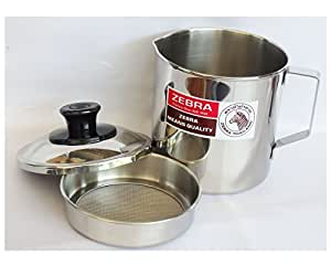 Amatahouse Zebra Oil Storage Container Stainless Steel Oil Filter Pot 1 Litre, 12 cm.