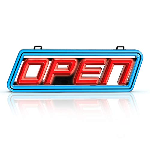 - Super Bright LED Open Sign - Stand Out with Ultra Bright SMD LEDs in Vibrant Red and Blue - Get Your Business Seen Day or Night with This 15 x 5 Inch That Fits Any Window - Includes Fixings