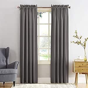 "Sun Zero Barrow Energy Efficient Rod Pocket Curtain Panel,Steel Gray,54"" x 84"""