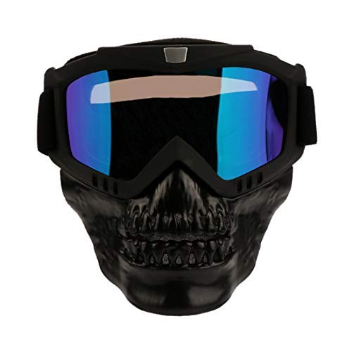 - spiid Motorcycle Detachable Face Mask Cycling Bike Ski Goggles Anti-Fog Windproof Riding Goggles for Man (Black Demon mask)