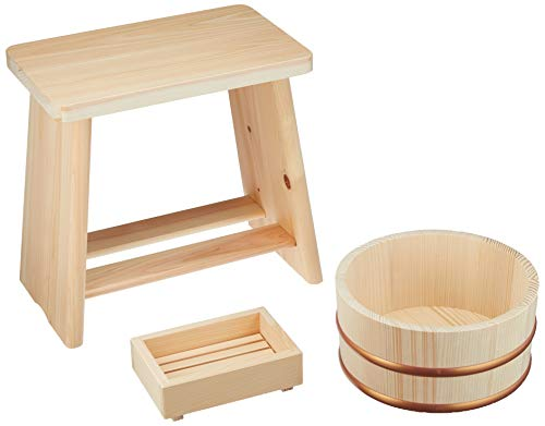 Hinoki Wood Isu Bath Stool Chair OKE Set Onsen From Japan Real Fragrant