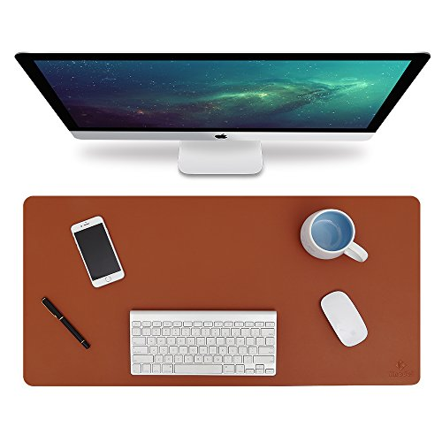 Knodel Desk Pad Protector, 31.5'' x 15.7'' PU Leather Blotter, Rectangular Laptop Desk Mat, Non-Slip Mouse Pad, Waterproof Gaming Writing Mat for Office and Home, Dual-Sided (Brown/Gray) by Knodel