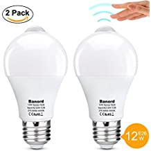 Banord 12W Motion LED Lights Bulb,E26 A60 Motion Activated LED Bulb Outdoor/Indoor LED Night Light Bulb for Front Door Garage Basement Hallway Stairs Carport(800lm Cold White 2pack)