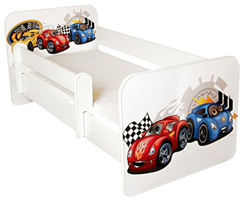 TODDLER BED WITH FREE MATTRESS, Design- CARS Amila Amila-Red/Blue Cars