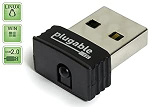 Plugable USB 2.0 Wireless N 802.11n 150 Mbps Nano WiFi Network Adapter (Realtek RTL8188CUS Chipset) Plug & Play for Windows, Raspberry Pi and Pi2, Linux
