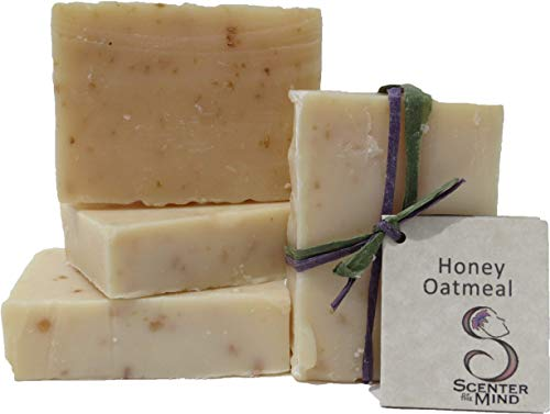Natural Handmade Soap, Soothing Honey Oatmeal 4-Pack by Scenter of the Mind