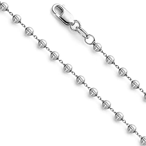 Wellingsale 14k White Gold SOLID 2mm Polished Moon Cut Ball Chain Necklace - 16