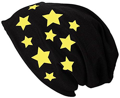 2Store24 Gorro Jersey Largo Beanie con Estrellas Primavera verano Mujer y Hombre amarillo