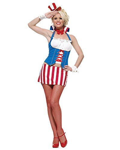 Womens Uncle Sam Costume Patriotic Costume Red White Blue Costume Sizes: XS