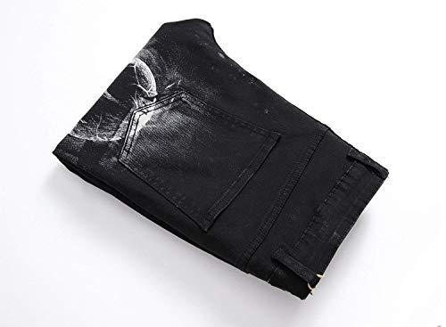 Attraenti Fit Con Nero Nuovo Mens Design Slim R Battercake Stampa Comodo Stil3 Casual Gamba Uomo Unico 2018 Diretta Dritta Jeans Modello Moda TqERzwP8