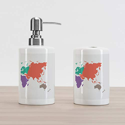 Map Soap Dispenser and Toothbrush Holder