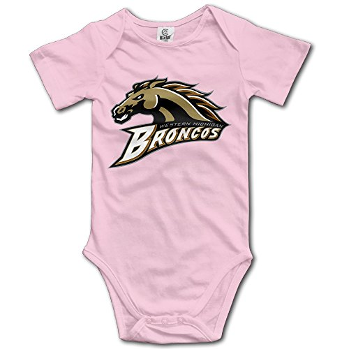 Western Michigan Broncos Pink Funny Short Sleeves Variety Baby Onesies Body Suits For Little Baby Size 6 M