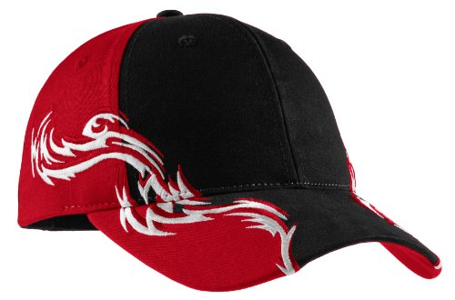(Port Authority Men's Colorblock Racing Cap with Flames OSFA Black/Red/White)