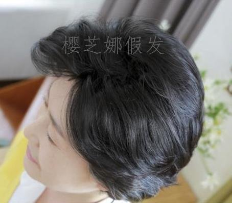 True and false hair wigs chemo realistic fake hair fluffy women girls female short hair wig elderly mother middle-aged grandmother with short hair