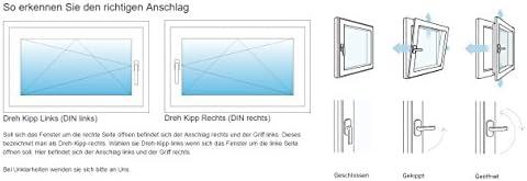 Kunststoff Lagerware Kellerfenster BxH: 60 x 40 cm Fenster wei/ß DIN rechts- 2-fach-Verglasung Wunschma/ße ohne Aufpreis