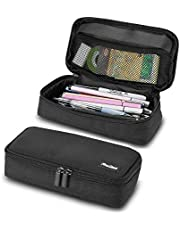 ProCase Big Capacity Pencil Case, Portable Pencil Pouch Stationery Holder Makeup Bag Storage Organizer with Double Zipper for School Students and Office Clerks –Black