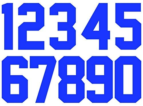 (8 Inch 0 to 9 Numbers Iron On Numbers for Sports T-Shirt Jersey Iron On Heat Transfer Numbers (Blue))